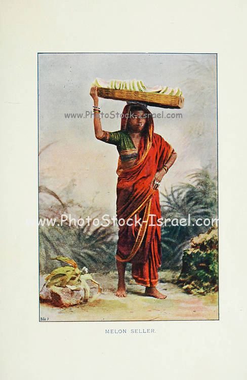 Young Koolmgbi cast girl selling melons Typical Pictures of Indian Natives Being reproduction from Specially prepared hand-colored photographs. By F. M. Coleman (Times of India) Seventh Edition Bombay 1902