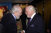 Hugh Whitemore and Lord Attenborough, Celebration of 100 years of the acting school RADA at the National Film Theatre, on May 9 2004. SUPPLIED FOR ONE-TIME USE ONLY> DO NOT ARCHIVE. © Copyright Photograph by Dafydd Jones 66 Stockwell Park Rd. London SW9 0DA Tel 020 7733 0108 www.dafjones.com