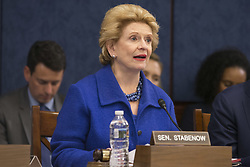 May 10, 2017 - Washington, District Of Columbia, USA - Senator DEBBIE STABENOW (D-MI) speaks at a meeting held by Senate Democrats to hear testimony from constituents on the ACHA on May 10th, 2017 at the U.S. Capitol. (Credit Image: © Alex Edelman via ZUMA Wire)