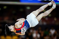 November 2, 2018 - Doha, Qatar - Edriel Carlos Yulo of Philippines   during  Floor for Men at the Aspire Dome in Doha, Qatar, Artistic FIG Gymnastics World Championships on 2 of November 2018. (Credit Image: © Ulrik Pedersen/NurPhoto via ZUMA Press)
