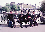 Group of senior secondary schoolboys on educational trip by the River Seine, Paris, France, c 1960