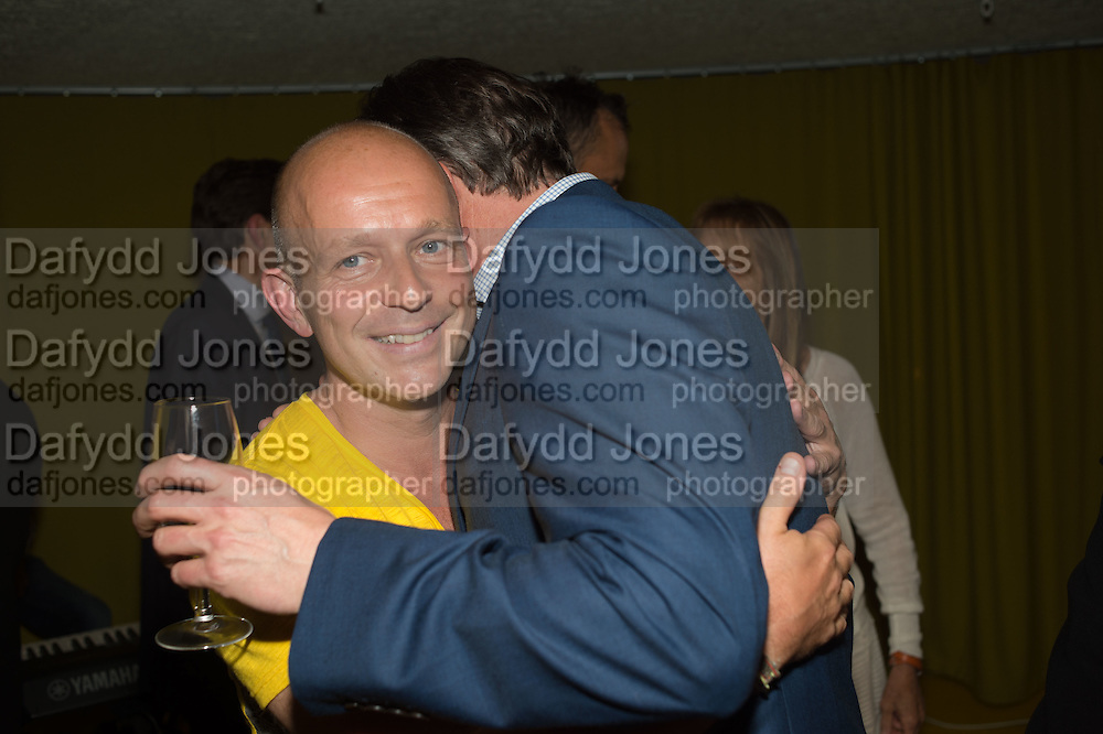 STEVE HILTON; DAVID CAMERON, Launch of ' More Human',  Designing a World Where People Come First' by Steve Hilton. Party held at Second Home in Princelet St, off Brick Lane, London. 19 May 2015.