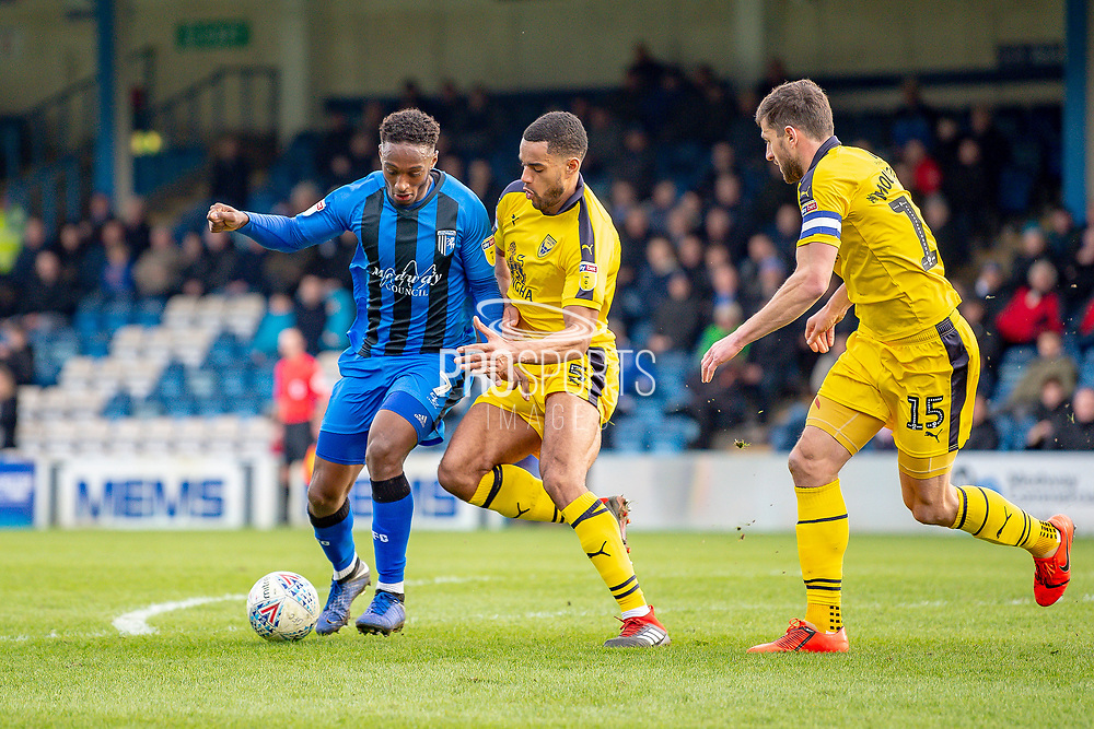 Gillingham FC forward Brandon Hanlan (7) and Oxford United defender Curtis Nelson (5) during the EFL Sky Bet League 1 match between Gillingham and Oxford United at the MEMS Priestfield Stadium, Gillingham, England on 9 March 2019.