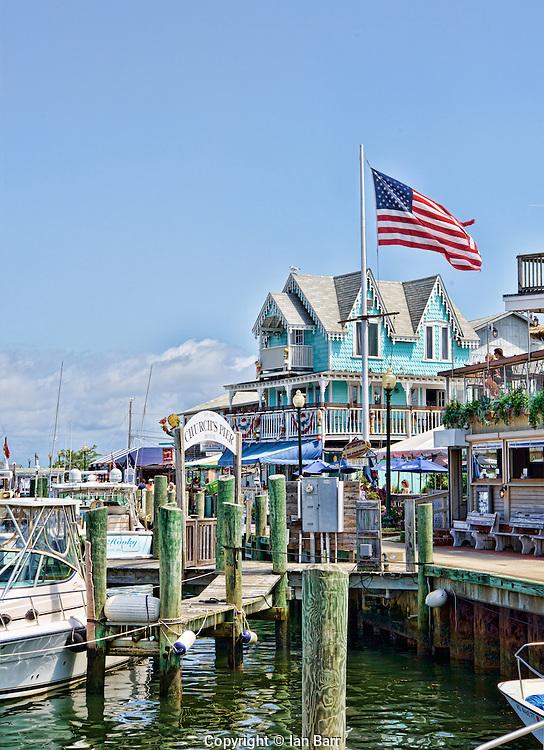 Boats and restaurants at Church's Pier, Oak Bluffs,Martha's Vineyard,Massachusetts,USA.