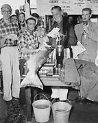 "Y-500904-02.  ""Roy Bush of Tumwater, winner of the Astoria Salmon Derby. September 4, 1950."