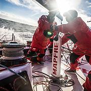 Leg 7 from Auckland to Itajai, day 04 on board MAPFRE, Antonio Cuervas-Mons and Tamara Echegoyen trimming. 21 March, 2018.