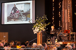 Pastor Carole Taylor offers a welcome prayer at the Arlen Ness Memorial - Celebration of Life at the CrossWinds Church, Livermore, CA, USA. Saturday, April 27, 2019. Photography ©2019 Michael Lichter.