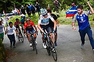 Christopher Froome (GBR - Team Sky) - Domenico Pozzovivo (ITA - Bahrain - Merida) during the 101th Tour of Italy, Giro d'Italia 2018, stage 14, San Vito Al Tagliamento - Monte Zoncolan 181 km on May 19, 2018 in Italy - Photo Luca Bettini / BettiniPhoto / ProSportsImages / DPPI