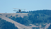 The 1932 Waco UBA as it arrives at Ken Jernstedt airfield and WAAAM in Hood River.