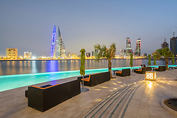 Skyline of Manama city  from new Four Seasons Bahrain Bay luxury Hotel in Bahrain