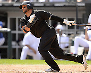 CHICAGO - AUGUST 25:  Welington Castillo #21 of the Chicago White Sox bats against the Texas Rangers during Players Weekend on August  25, 2019 at Guaranteed Rate Field in Chicago, Illinois.  (Photo by Ron Vesely)  Subject:   Welington Castillo