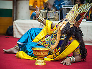 17 AUGUST 2014 - BANGKOK, THAILAND:       A man representing the Hindu deity Ganesh dances during Krishna Janmashtami celebrations at the Vishnu temple in Bangkok. Krishna Janmashtami is the annual celebration of the birth of the Hindu deity Krishna, the eighth avatar of the Hindu god Vishnu. It is celebrated by Hindus in Thailand. There are about 53,000 Hindus in Thailand, most originally from India, but many Hindu deities are highly revered by Thai Buddhists and Hindu holy days are observed by many Thai Buddhists.     PHOTO BY JACK KURTZ