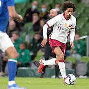 DUBLIN, IRELAND:  October 12:  Akram Afif #11 of Qatar in action  during the Republic of Ireland V Qatar International friendly match at Aviva Stadium on October 12th, 2021 in Dublin, Ireland. (Photo by Tim Clayton/Corbis via Getty Images)