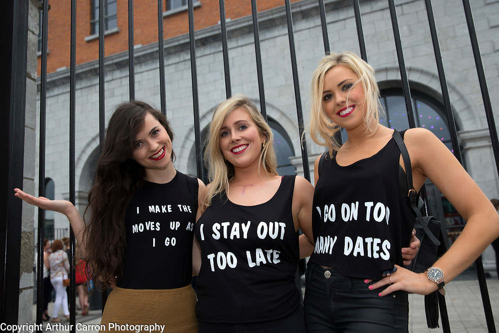 29/6/15 Taylor Swift fans Jessica Dowdall, Dublin, Sarah Prior, Leitrim and Rachel Dowdall, Dublin on the way to the concert in the 3 Arena in Dublin. Picture: Arthur Carron
