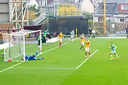 GOAL 1-3 Mohamed Elyounoussi (Celtic) gets his hat trick with a powerful header during the Scottish Premiership match between Motherwell and Celtic at Fir Park, Motherwell, Scotland on 8 November 2020.