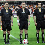 Referee's Tolga OZKALFA (C) during their Turkish Super League soccer match Galatasaray between Antalyaspor at the AliSamiYen Stadium at Mecidiyekoy in Istanbul Turkey on Saturday 08 May 2010. Photo by TURKPIX