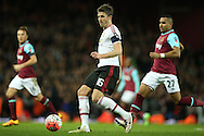 Michael Carrick of Manchester United in action. The Emirates FA cup, 6th round replay match, West Ham Utd v Manchester Utd at the Boleyn Ground, Upton Park  in London on Wednesday 13th April 2016.<br /> pic by John Patrick Fletcher, Andrew Orchard sports photography.