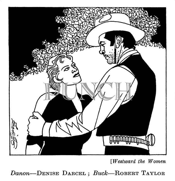 Westward the Women : Denise Darcel and Robert Taylor..