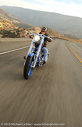 Arlen Ness riding his Gibson Bike in the Livermore Hills, CA. 2004. Photograph ©2004 Michael Lichter