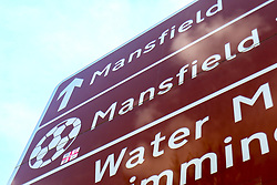 A road sign showing directions to the One Call Stadium, home to Mansfield Town - Mandatory by-line: Ryan Crockett/JMP - 23/03/2019 - FOOTBALL - One Call Stadium - Mansfield, England - Mansfield Town v Crewe Alexandra - Sky Bet League Two