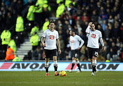 Jeff Hendrick, George Thorne and Richard Keogh of Derby County look frustrated after conceding a goal to Paul Robinson of Birmingham City - Mandatory byline: Robbie Stephenson/JMP - 16/01/2016 - FOOTBALL - iPro Stadium - Derby, England - Derby County v Birmingham City - Sky Bet Championship