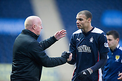 Falkirk's manager Peter Houston with Falkirk's Taylor Morgan. <br /> Falkirk 2 v 1 Brechin City, Scottish Cup fifth round game played today at The Falkirk Stadium.