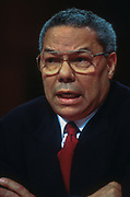 WASHINGTON, DC, USA - 1997/04/17: Ret. Gen. Colin Powell testifies on Gulf War syndrome and issues with veterans who served in the Persian Gulf War at the U.S. Senate Committee on Veterans' Affairs on Capitol Hill April 17, 1997 in Washington, DC.    (Photo by Richard Ellis)