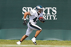Philadelphia Eagles defensive back Kurt Coleman #42 carries the ball after intercepting a pass during the Eagles NFL Training Camp at Lehigh University in Bethlehem, Pennsylvania on Thursday August 2nd 2012. (Photo By Brian Garfinkel)