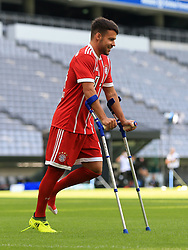 MUNICH, Aug. 8, 2017  Bayern Munich's Juan Bernat reacts prior to taking team photos at Allianz Arena in Munich, Germany, on Aug. 8, 2017. Players and coaches of Bayern Munich took team photos for the upcoming German Bundelisga season at Allianz Arena on Tuesday. (Credit Image: © Philippe Ruiz/Xinhua via ZUMA Wire)