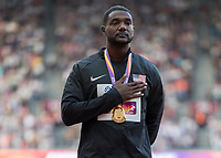 Athletics - 2017 IAAF London World Athletics Championships - Day Three, Evening Session<br /> <br /> Men's 100m Medal ceremony<br /> <br /> Justin Gatlin (United States) Stands proud with his Gold medal as the national anthem plays at the London Stadium<br /> <br /> COLORSPORT/DANIEL BEARHAM