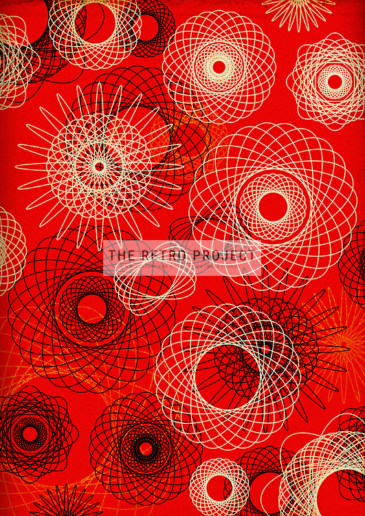 Retro aged spiral graph geometric illustration in grainy finish with red background
