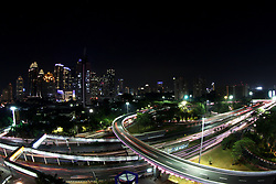 August 28, 2017 - Jakarta, Capital Region Of Jakarta, Indonesia - Night view of Semanggi Interchanges, Jakarta on Monday, August 28, 2017. The Semanggi Interchanges which just recently inaugurated by President Joko Widodo on August 17, is one of the Jakarta Goverment's efforts to increase infrastructure development in the capital as a solution to overcome traffic jams. With this interchanges, the goverment claims to reduce congestions by 30% (Credit Image: © Aditya Irawan/NurPhoto via ZUMA Press)