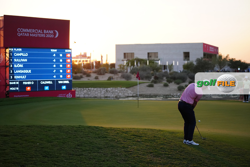 Jonathan Caldwell (NIR) on the 18th during Round 2 of the Commercial Bank Qatar Masters 2020 at the Education City Golf Club, Doha, Qatar . 06/03/2020<br /> Picture: Golffile | Thos Caffrey<br /> <br /> <br /> All photo usage must carry mandatory copyright credit (© Golffile | Thos Caffrey)