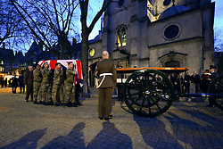 © Licensed to London News Pictures. 15/04/2013. London, UK The gun carriage that will carry the coffin outside St Clement Danes Church. A full rehearsal of the funeral of former British Conservative Prime Minster Baroness Thatcher takes place in central London. Hundreds of members of the armed forces drawn from all three services took part in the practice in the early hours of 15th April 2013. Photo credit : Stephen Simpson/LNP