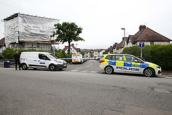 © Licensed to London News Pictures. 19/06/2019. London, UK. A crime scene on Wellbeck Road, Barnet, North London where three men were found to be suffering stab injuries on Tuesday 18 June 2019, just before 11pm. A man in his 30s was treated at the scene, but he was pronounced dead shortly after midnight. Two other men – one in his 20s and one in his 30s were taken to hospital for treatment.  Photo credit: Dinendra Haria/LNP