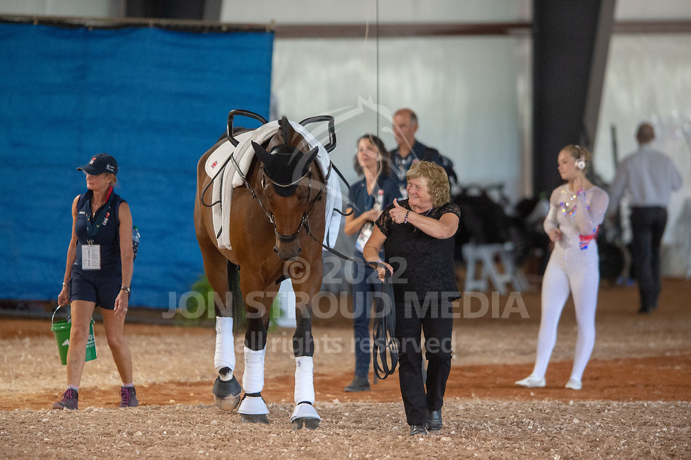 Demezza (GBR) waits to enter the warm up - Vaulting Compulsories - FEI World Equestrian Games™ Tryon 2018 - Tryon, North Carolina, USA - 18 September 2018
