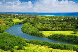 Histric Wailua River where many significant Heiau (temples) were built by Hawaiian Ali`i (chiefs) and Kahuna (priests), State Park, Kauai, Hawaii, Pacific Ocean