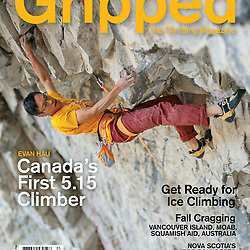 Evan Hau on the cover of Grippedv19i5 climbing his new route Honour and Glory in Echo Canyon, 5.15a. Evan is the first Canadian to climb 5.15