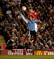 Photo: Jed Wee.<br /> England v Uruguay. International Friendly. 01/03/2006.<br /> <br /> England's Peter Crouch risest highest to score the equaliser.