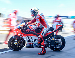 October 20, 2017 - Melbourne, Victoria, Australia - Spanish rider Jorge Lorenzo (#99) of Ducati Team leaves his garage during the first free practice session of the MotoGP class at the 2017 Australian MotoGP at Phillip Island, Australia. (Credit Image: © Theo Karanikos via ZUMA Wire)