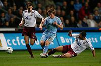 Photo: Steve Bond.<br />Coventry City v West Ham United. Carling Cup. 30/10/2007. Jayy Tabb (C) attacking. Defenders George McCartney (L) & Hayden Mullins (R)