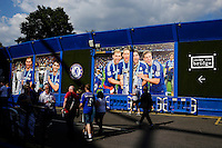 Fans arrive at Stamford Bridge, home of Chelsea, where pictures of last year's league triumph greet visitors<br /> <br /> Photographer Craig Mercer/CameraSport<br /> <br /> Football - Barclays Premiership - Chelsea v Swansea City - Saturday 8th August 2015 - Stamford Bridge - London<br /> <br /> © CameraSport - 43 Linden Ave. Countesthorpe. Leicester. England. LE8 5PG - Tel: +44 (0) 116 277 4147 - admin@camerasport.com - www.camerasport.com