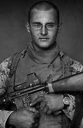 Lcpl. Robert Stafford, 20, Virginia Beach, Virginia, Headquarters Platoon, Kilo Co., 3rd Battalion 1st Marines, 1st Marine Division, United States Marine Corps, at the company's firm base in Haditha, Iraq on Sunday Oct. 22, 2005..
