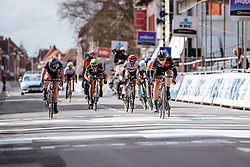 Lisa Brennauer wins the sprint for second ahead of Lucinda Brand - Women's Gent Wevelgem 2016, a 115km UCI Women's WorldTour road race from Ieper to Wevelgem, on March 27th, 2016 in Flanders, Belgium.
