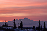 Sunset and the Iliamna Volcano
