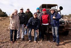 Journalists Branko Vekic, Joze Okorn, guude Edward, Jernej Suhadolnik, Tine Zupan,  Rok Plestenjak and photographer Vid Ponikvar in Schotia Safaris on June 24, 2010  in the Eastern Cape reserve, Addo area, near Port Elizabeth,  South Africa. (Photo by Vid Ponikvar / Sportida)