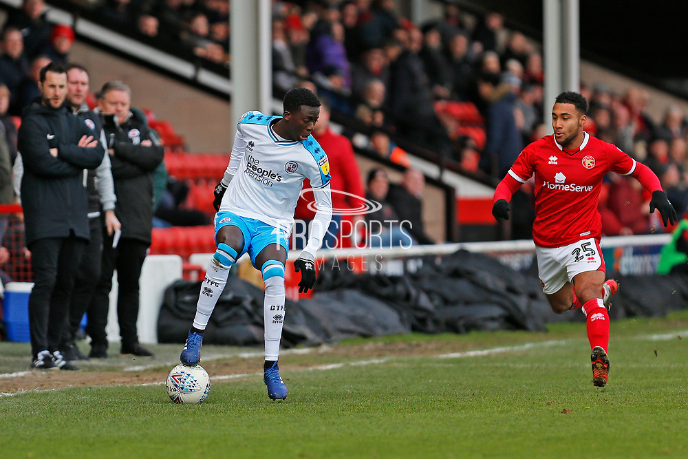 Panutche Camara turns inside of Wes McDonald during the EFL Sky Bet League 2 match between Walsall and Crawley Town at the Banks's Stadium, Walsall, England on 18 January 2020.