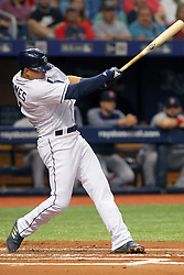 May 22, 2018 - St. Petersburg, FL, U.S. - ST. PETERSBURG, FL - MAY 22: Willy Adames (1) of the Rays at bat during the MLB regular season game between the Boston Red Sox and the Tampa Bay Rays on May 22, 2018, at Tropicana Field in St. Petersburg, FL. (Photo by Cliff Welch/Icon Sportswire) (Credit Image: © Cliff Welch/Icon SMI via ZUMA Press)