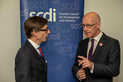 Pictured: <br />Deputy First Minister John Swinney and German Ambassador Peter Wittig were in Edinburgh today to open the Scottish Council for Development and Industry annual forum. <br /><br />Ger Harley   EEm 26 April 2019