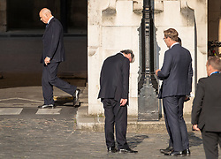CAPTION CORRECTION © Licensed to London News Pictures. 22/05/2019. London, UK. Oliver Letwin (C) looks down as he talks with Conservative minister Tobias Ellwood as Iain Duncan Smith walks past at Parliament. Photo credit: Peter Macdiarmid/LNP
